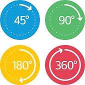 Angle degrees circle icons set.