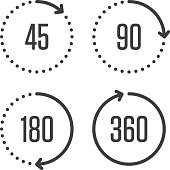 Angle degrees circle icons.