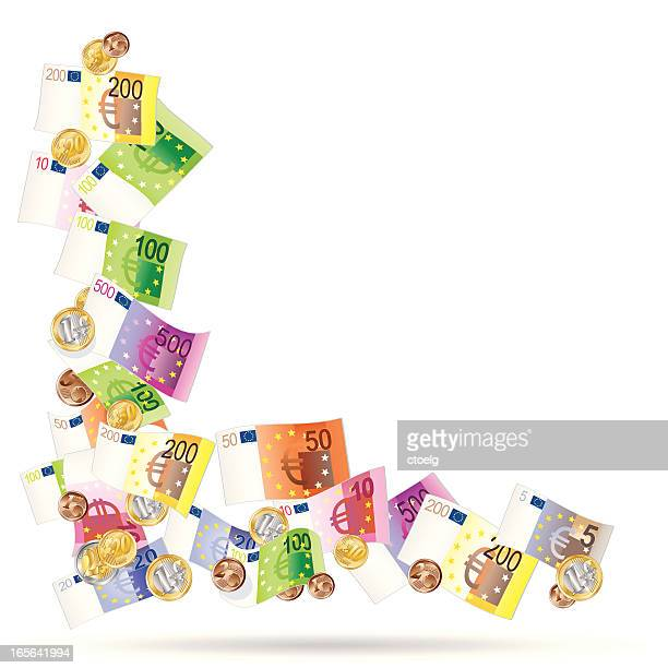 angle made of euro notes - european union euro note stock illustrations, clip art, cartoons, & icons