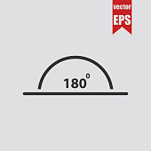 Angle of 180 degrees icon.Vector illustration.