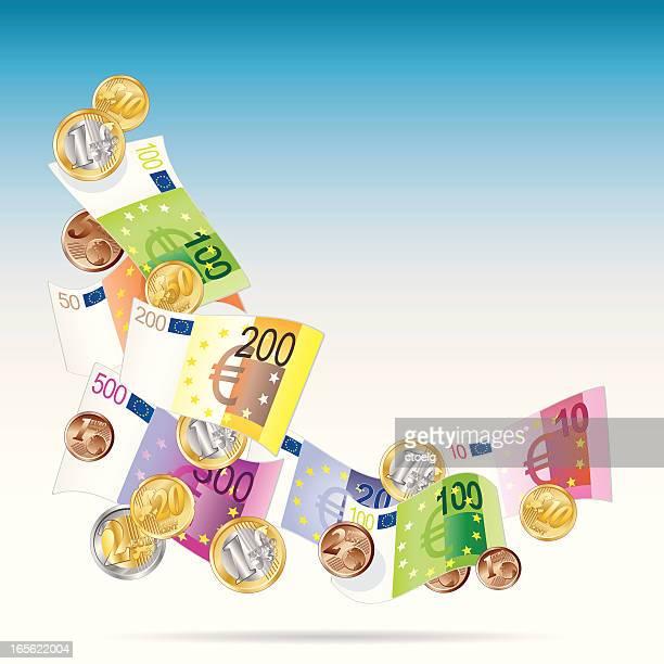 angle of euro notes - european union euro note stock illustrations, clip art, cartoons, & icons