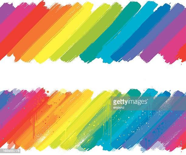 angled rainbow paint strokes - tilt stock illustrations