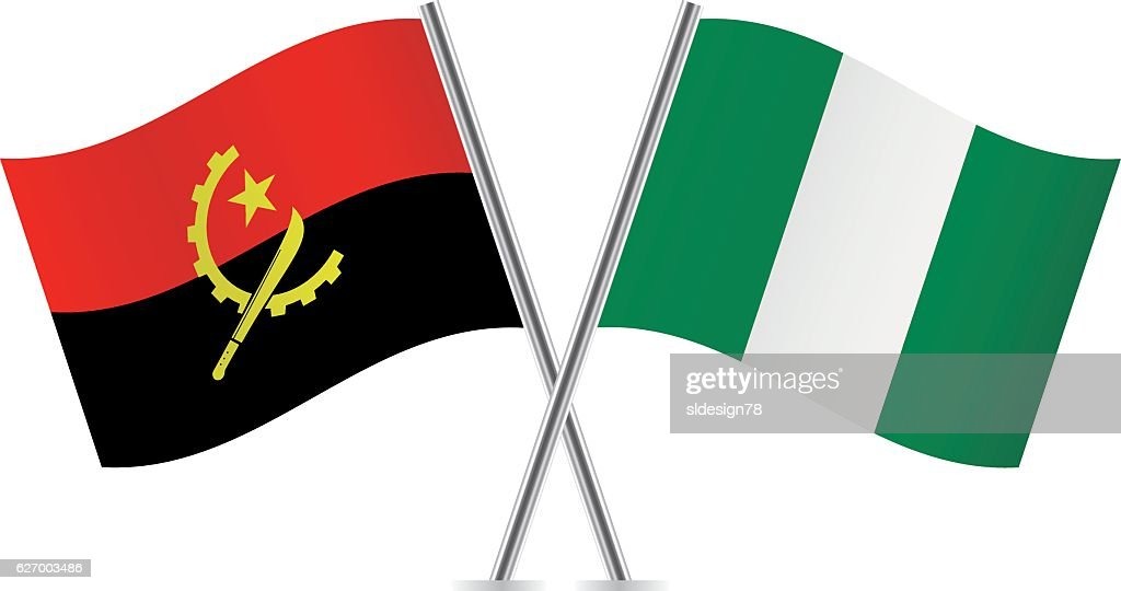 Angola and Nigeria flags. Vector.