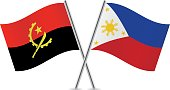 Angola and Philippine flags. Vector.