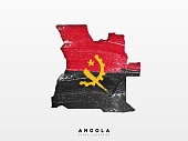 Angola detailed map with flag of country. Painted in watercolor paint colors in the national flag