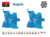 Angola - High Detailed Map With GPS Icon Collection