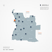 Angola infographic map vector illustration.