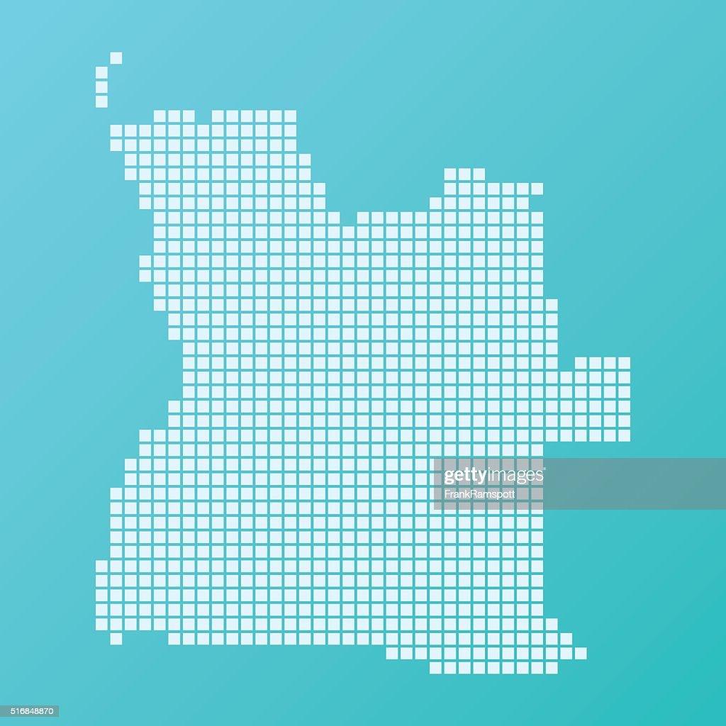 Angola Map Basic Square Pattern Turquoise : Stock Illustration