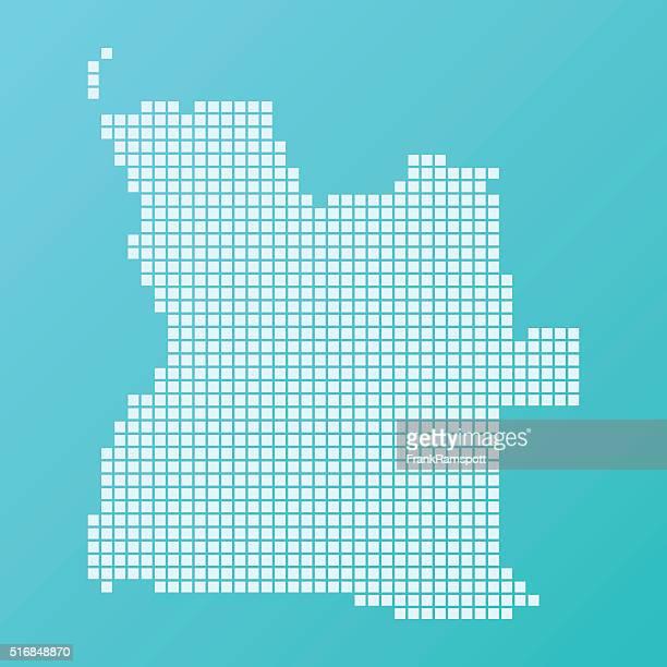 Angola Karte Grundlegende Platz Muster-Türkis
