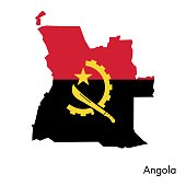Angola map with flag colors