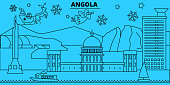 Angola winter holidays skyline. Merry Christmas, Happy New Year decorated banner with Santa Claus.Flat, outline vector.Angola linear christmas city illustration
