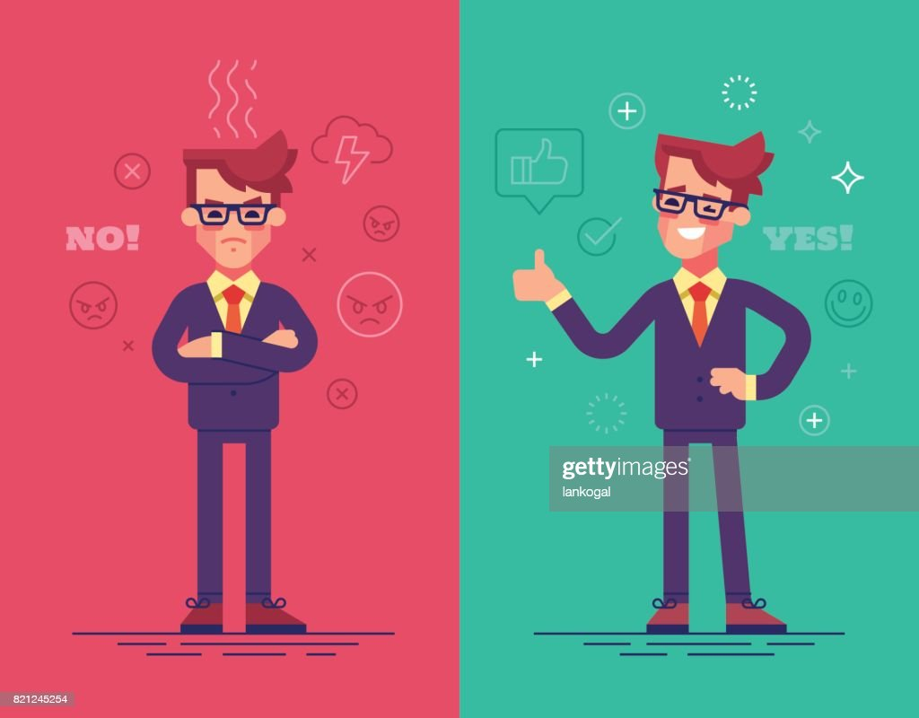 Angry and positive businessmen. Funny vector characters with mood icons on background.