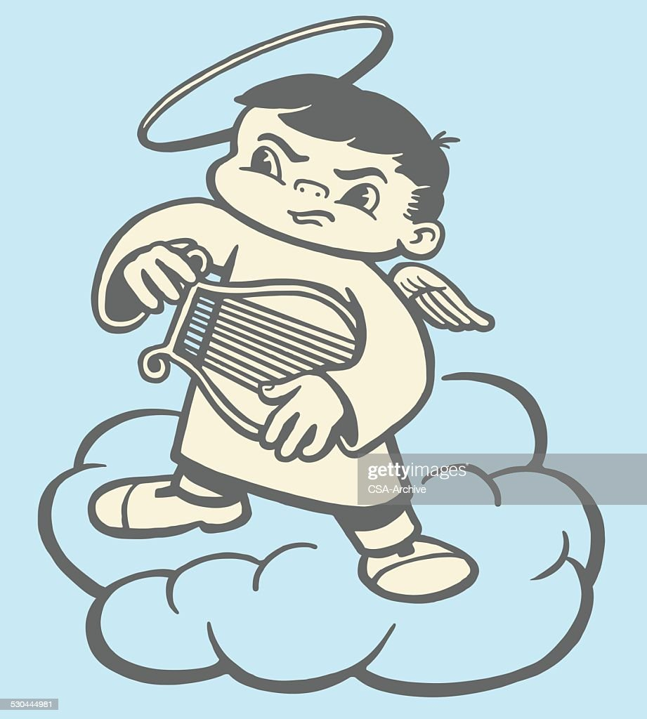 Angry Angel With Harp