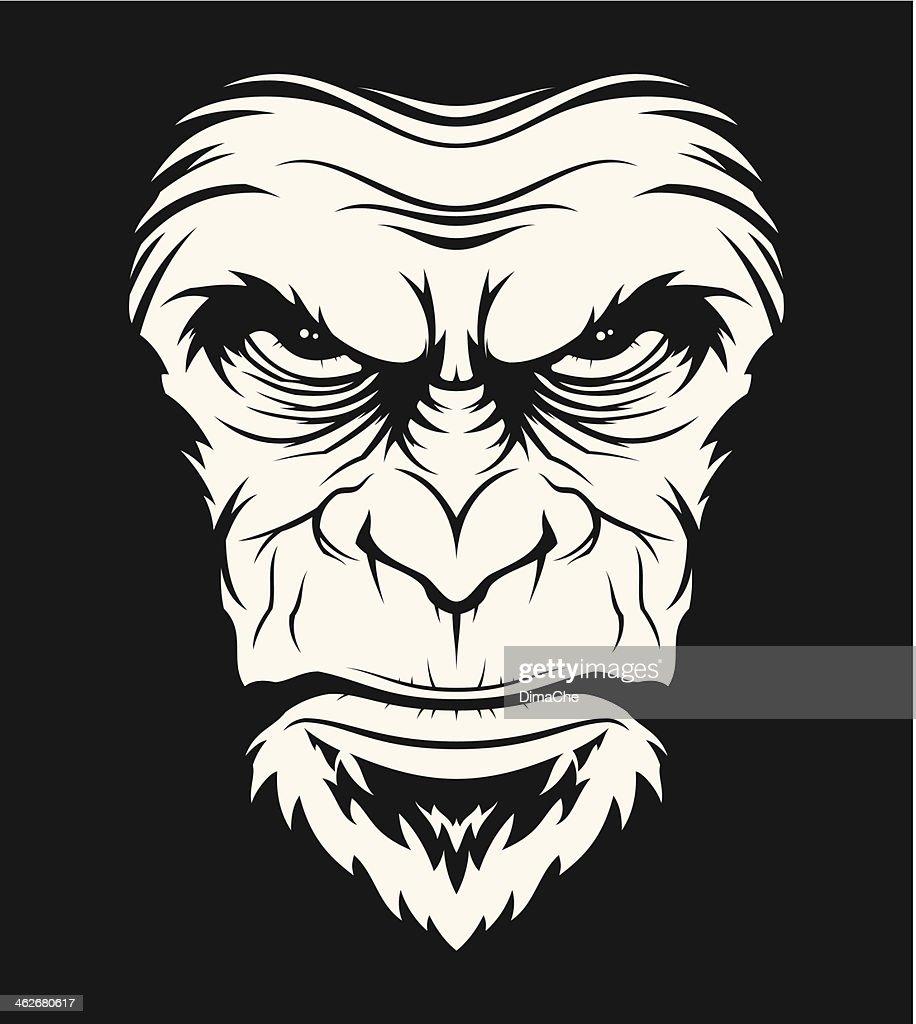 Angry ape head : stock illustration