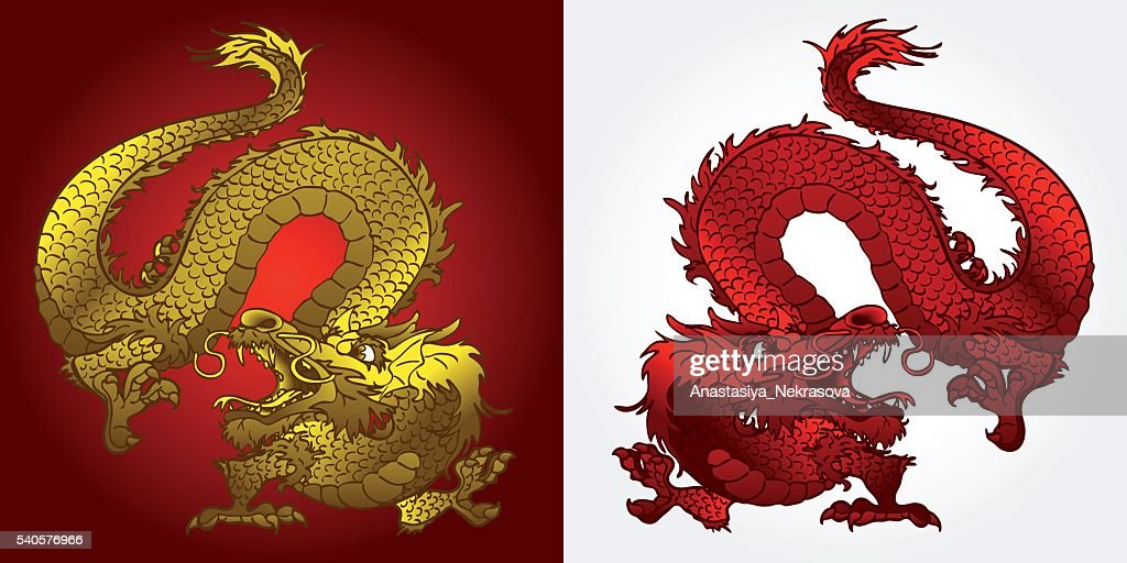 Angry Asian dragon gold and red
