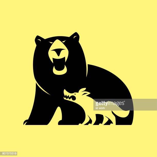 illustrations, cliparts, dessins animés et icônes de ours en colère et symbole du loup - ours