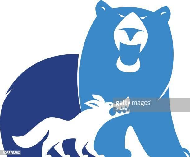 ilustraciones, imágenes clip art, dibujos animados e iconos de stock de enojado oso y lobo símbolo - oso pardo