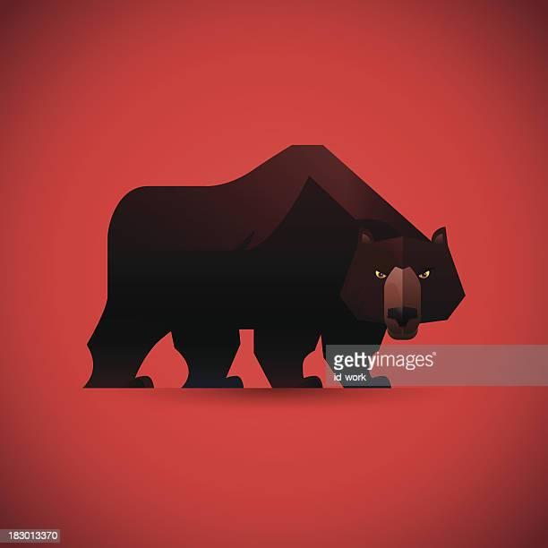 angry bear watching - bear market stock illustrations