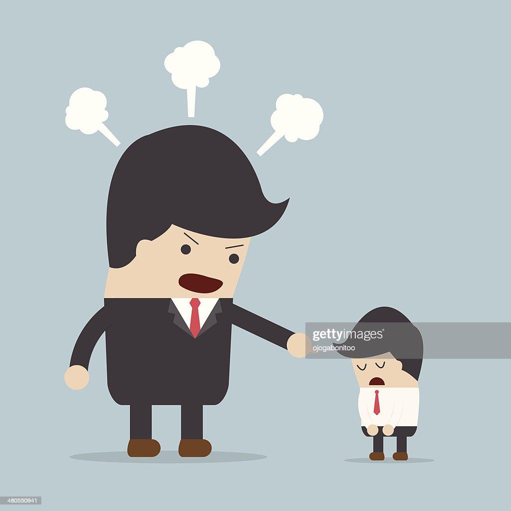 Angry patrão e funcionários : Arte vetorial