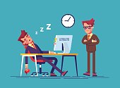 Angry boss and office worker falling asleep at work in office. Exhausted employee sleeping behind his desk while angry chief is standing near. Modern vector illustration.