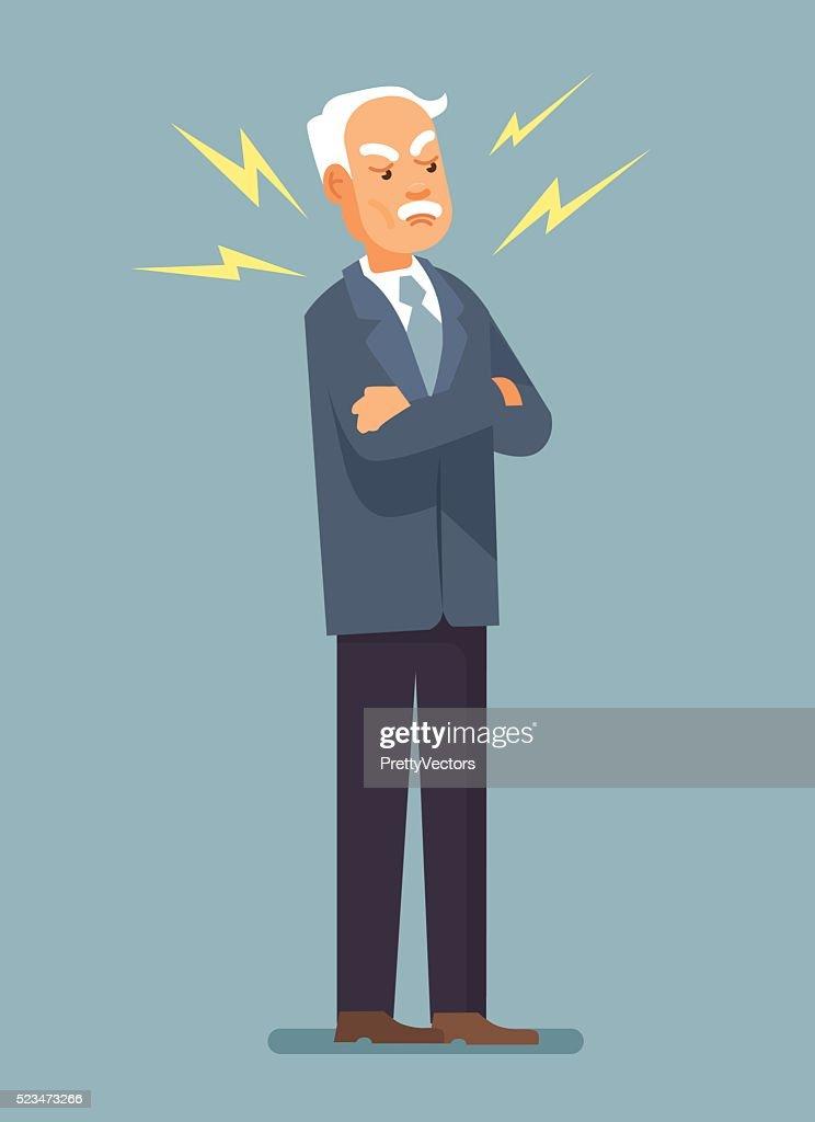 Angry boss. Angry grandfather