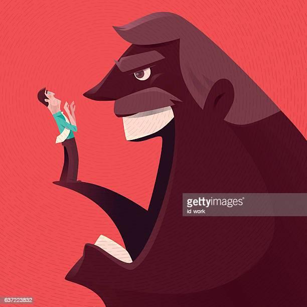 angry boss blaming businessman - foreman stock illustrations, clip art, cartoons, & icons