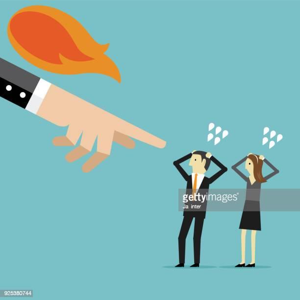 ilustraciones, imágenes clip art, dibujos animados e iconos de stock de colega culpar a jefe enojado - bullying