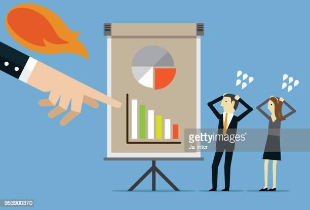 ilustraciones, imágenes clip art, dibujos animados e iconos de stock de colega culpar a jefe enojado - asumir la responsabilidad