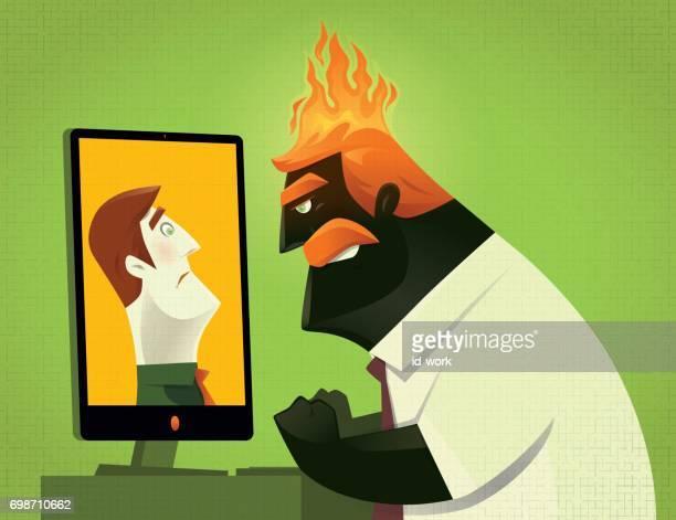 collègue blâmer patron en colère via internet