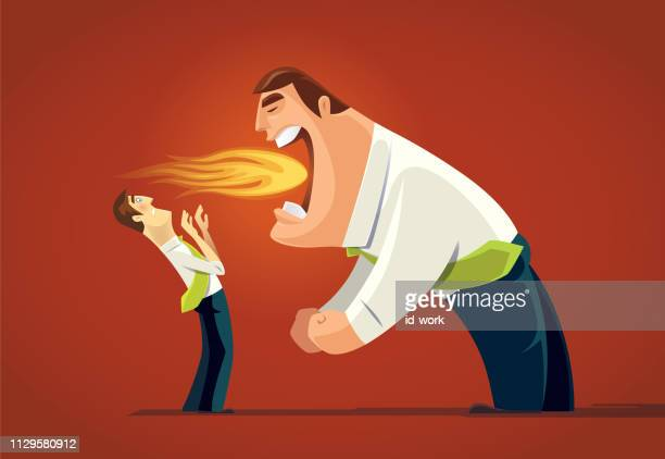 angry boss breathing fire - inhaling stock illustrations