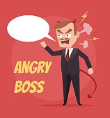 Angry boss character scream. Speech bubble