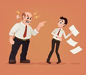 Angry boss character yelling at employee office worker