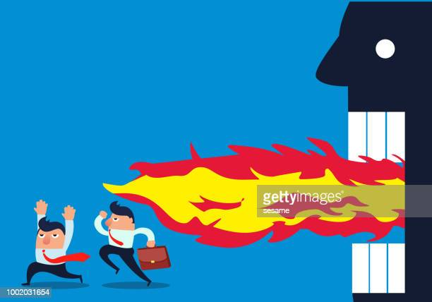 angry boss scared businessman to escape - office fight stock illustrations, clip art, cartoons, & icons
