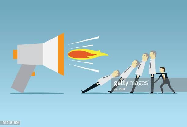 ilustrações de stock, clip art, desenhos animados e ícones de angry boss through megaphone - cyberbullying