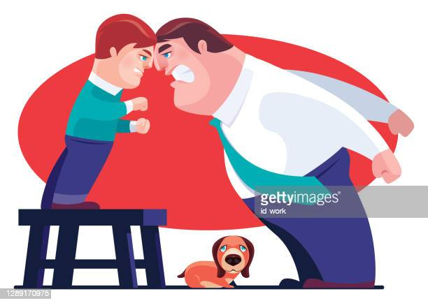 angry boy conflicting with father - family fighting cartoon stock illustrations