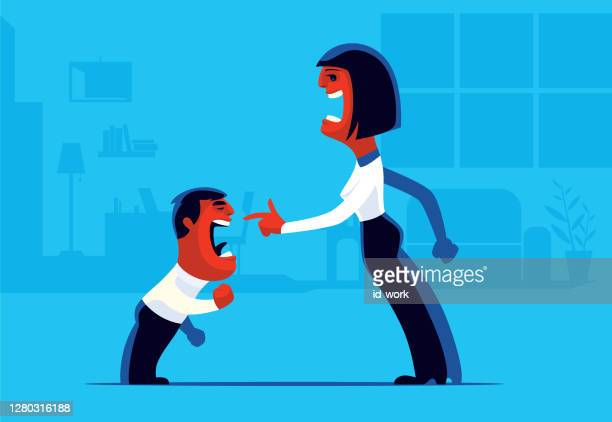 angry boy conflicting with mother - family fighting cartoon stock illustrations