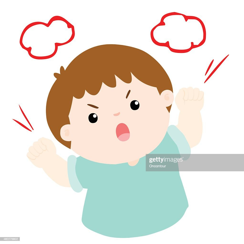 angry boy shout loudly on white background vector