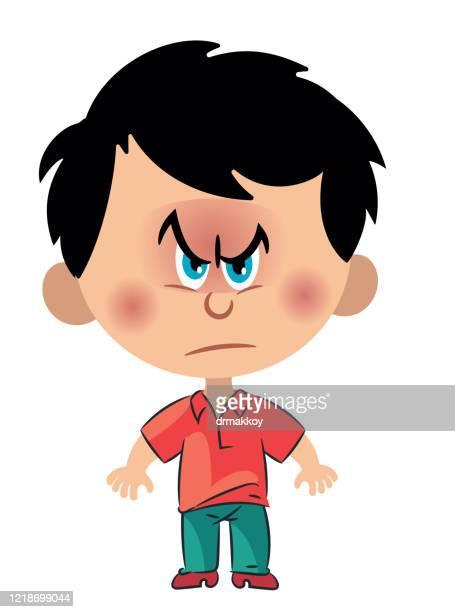 angry boy - naughty america stock illustrations