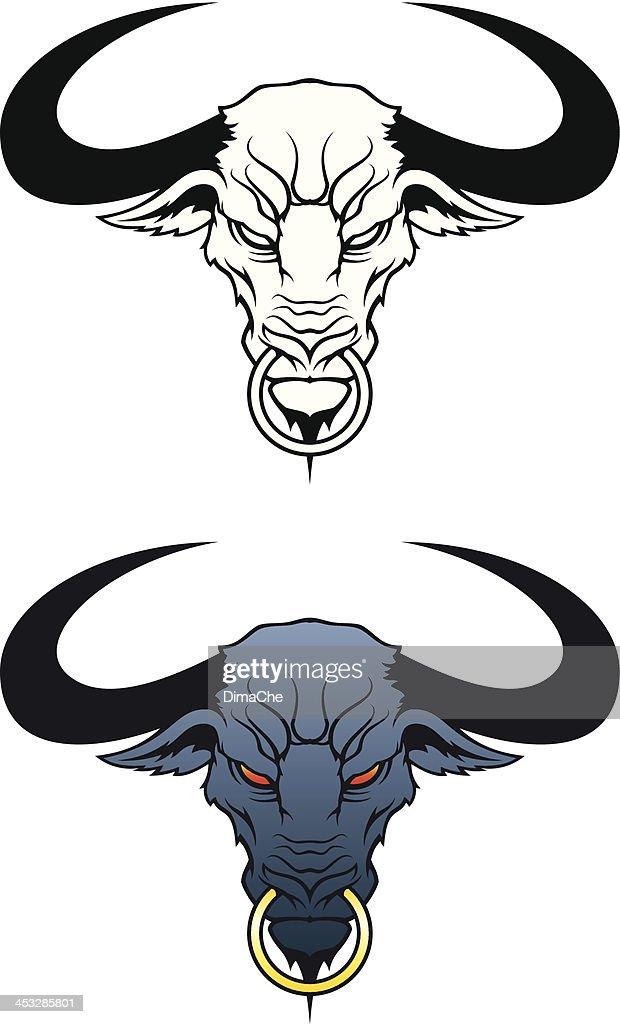Angry bull head : stock illustration