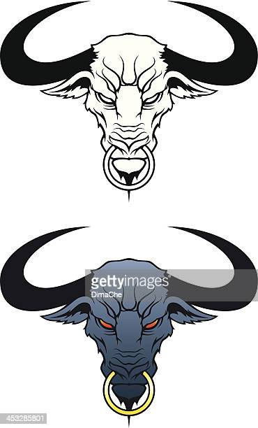angry bull head - african buffalo stock illustrations, clip art, cartoons, & icons