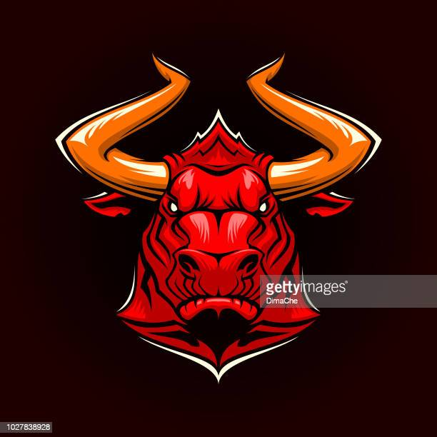 angry bull head with horns vector mascot - bullfight stock illustrations, clip art, cartoons, & icons