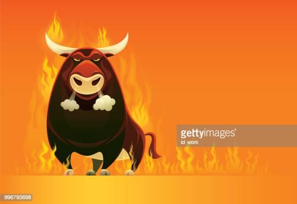 angry bull on fire - bull market stock illustrations, clip art, cartoons, & icons