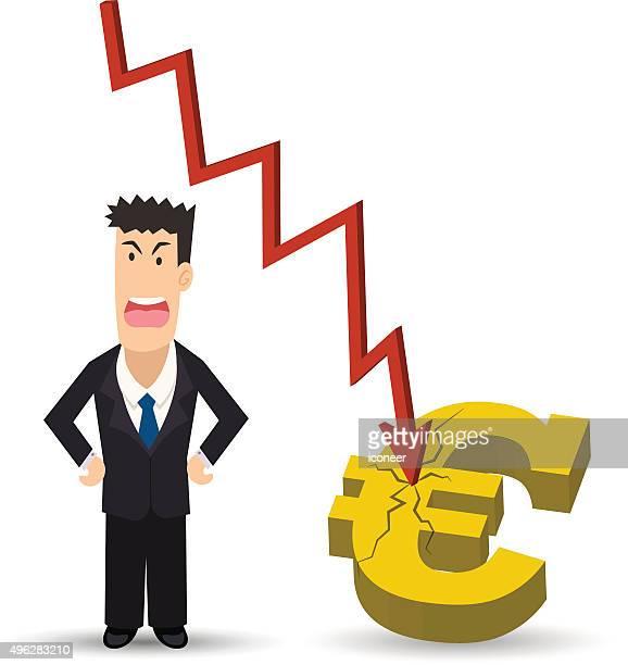 ilustraciones, imágenes clip art, dibujos animados e iconos de stock de angry hombre de negocios con símbolos de crisis euro sobre fondo blanco - al vapor