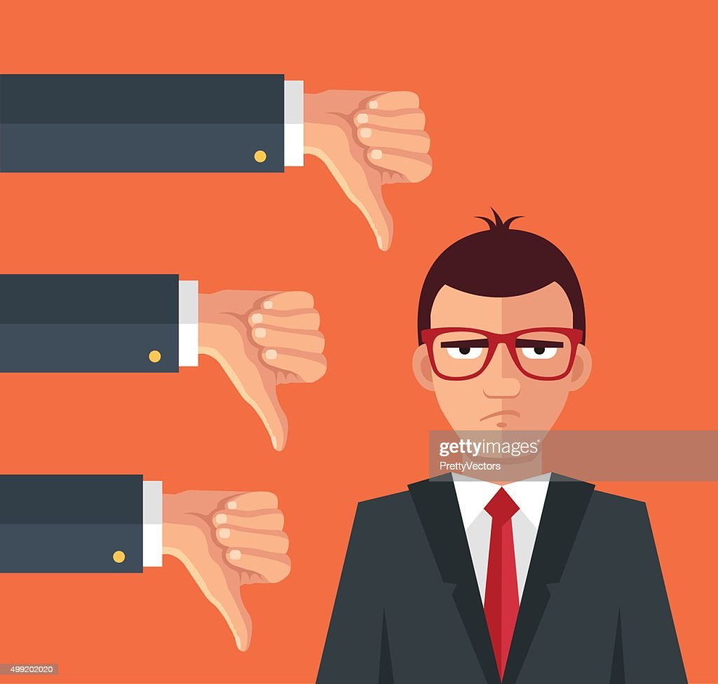 Angry businessman and many hands with thumbs down