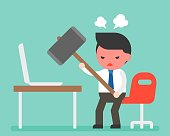 Angry businessman carrying hammer to destroy laptop on desk, flat design, computer broken or out of order concept