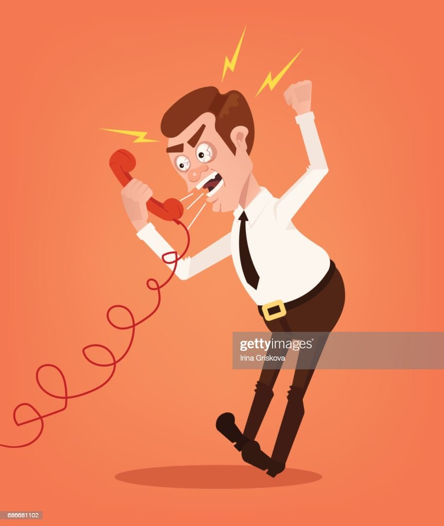 Angry businessman office worker consultant man character shouting and yelling on phone