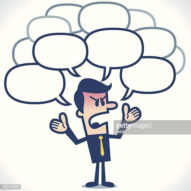 illustrations, cliparts, dessins animés et icônes de en colère homme d'affaires parlant - impatient