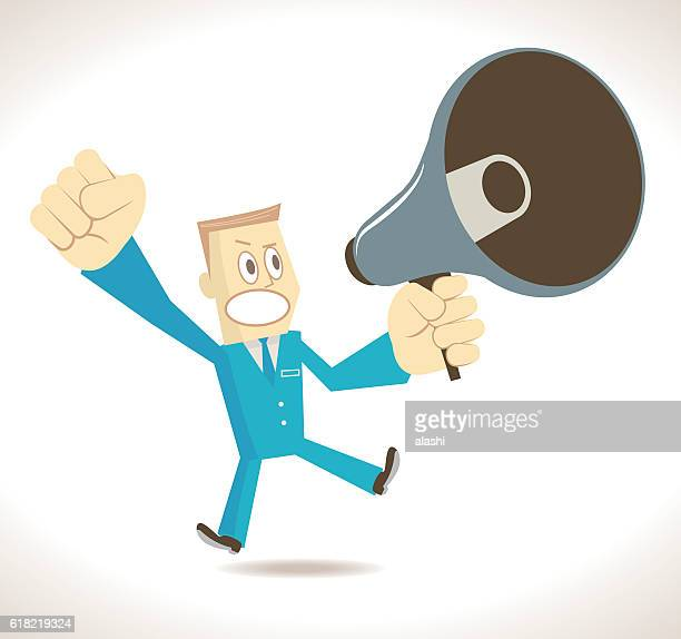 Angry businessman (politician, detective) with megaphone