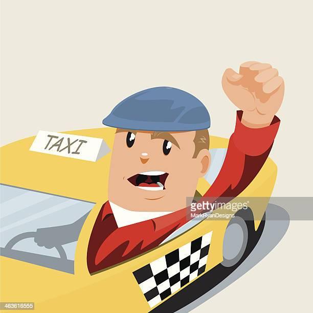 ilustraciones, imágenes clip art, dibujos animados e iconos de stock de angry cabbie - taxista