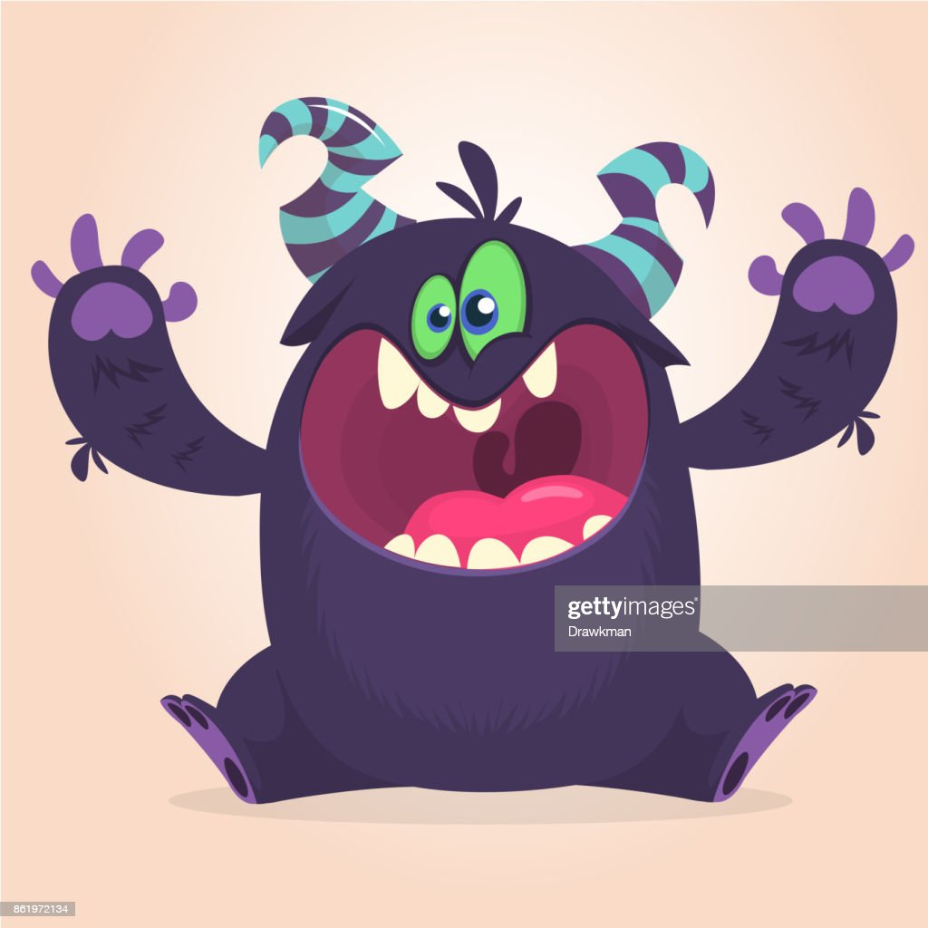 Angry cartoon black monster screanimg. Yelling angry monster expression.